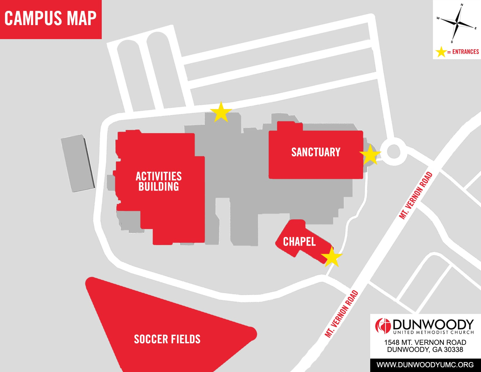 Umc Campus Map.Plan Your Visit Dunwoody United Methodist Church